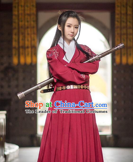 Traditional Ancient Chinese Swordsman Hanfu Costume Embroidered Red Robe, Asian China Ming Dynasty Imperial Guards Clothing for Women