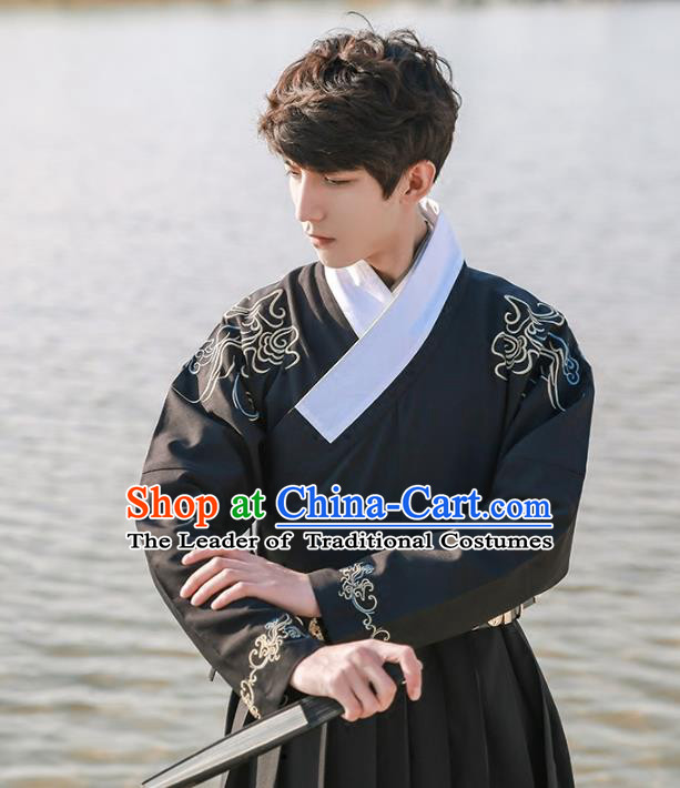 Traditional Ancient Chinese Swordsman Hanfu Costume Embroidered Black Robe, Asian China Ming Dynasty Imperial Guards Clothing for Men
