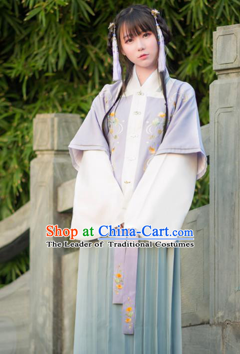 Traditional Ancient Chinese Young Lady Hanfu Embroidered Costume, Asian China Ming Dynasty Imperial Princess Clothing for Women