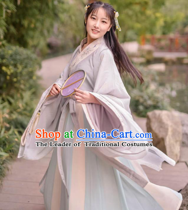 Traditional Ancient Chinese Young Lady Embroidered Costume Complete Set, Asian China Tang Dynasty Imperial Princess Hanfu Clothing for Women