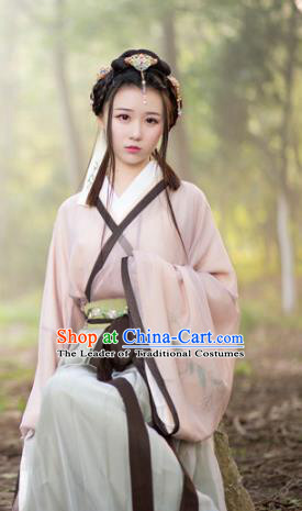 Traditional Ancient Chinese Young Lady Embroidered Costume, Asian China Jin Dynasty Princess Hanfu Clothing for Women