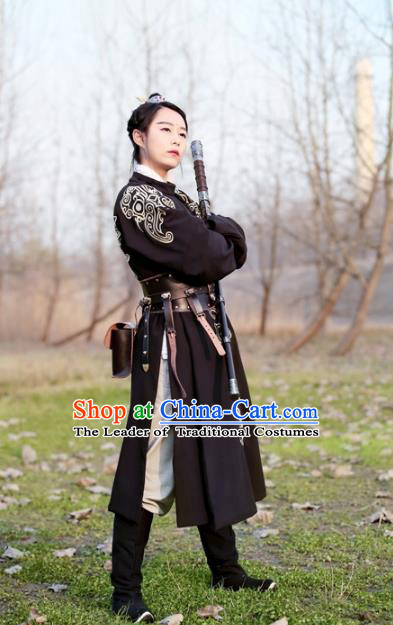 Traditional Ancient Chinese Swordsman Hanfu Costume Black Embroidered Robe, Asian China Ming Dynasty Imperial Bodyguard Clothing for Men
