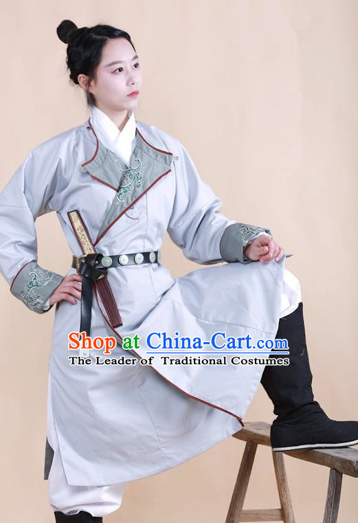 Traditional Ancient Chinese Swordsman Hanfu Costume Grey Embroidered Robe, Asian China Ming Dynasty Imperial Bodyguard Clothing for Women