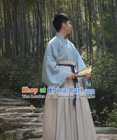 Traditional Ancient Chinese Swordsman Hanfu Costume, Asian China Han Dynasty Scholar Clothing for Men