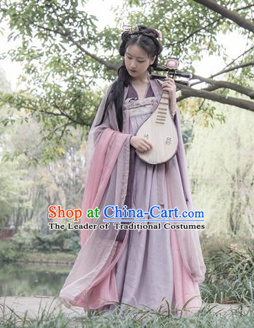 Traditional Ancient Chinese Imperial Consort Purple Costume, Elegant Hanfu Clothing Chinese Tang Dynasty Embroidered Dress Clothing for Women