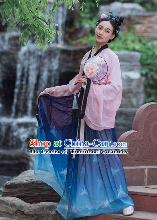 Traditional Ancient Chinese Tang Dynasty Young Lady Costume, Elegant Hanfu Clothing Chinese Dress Clothing for Women