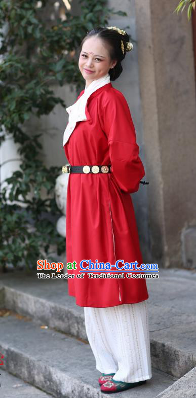 Traditional Ancient Chinese Tang Dynasty Palace Lady Costume Red Robe, Elegant Hanfu Clothing Chinese Dress Clothing for Women