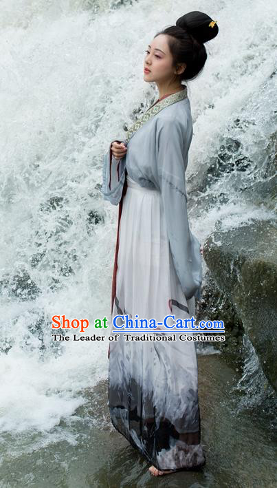 Traditional Ancient Chinese Palace Lady Hanfu Costume, Asian China Song Dynasty Imperial Princess Grey Dress Clothing for Women