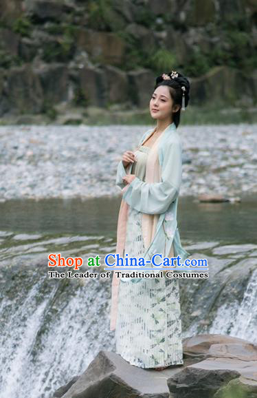 Traditional Ancient Chinese Song Dynasty Palace Lady Hanfu Costume Green Embroidered BeiZi, Asian China Princess Cardigan Clothing for Women
