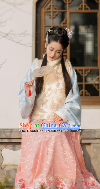Traditional Chinese Ancient Costume Palace Lady Embroidered Pink Vest Blouse and Slip Skirt, Asian China Ming Dynasty Princess Hanfu Clothing for Women