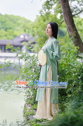 Traditional Chinese Ancient Costume Palace Lady Embroidered Blue BeiZi and Skirt, Asian China Song Dynasty Imperial Princess Hanfu Dress Clothing for Women