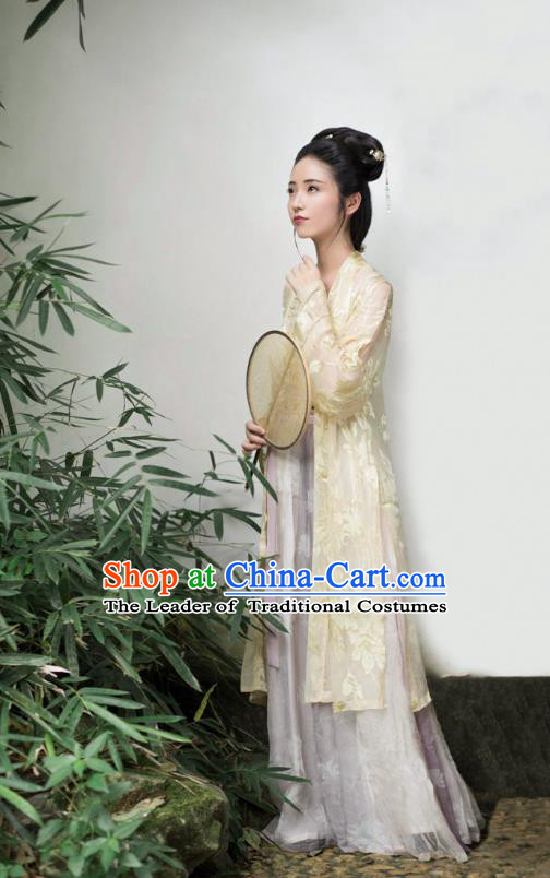 Traditional Chinese Ancient Costume Palace Lady Embroidered Yellow BeiZi and Skirt, Asian China Song Dynasty Imperial Princess Hanfu Dress Clothing for Women