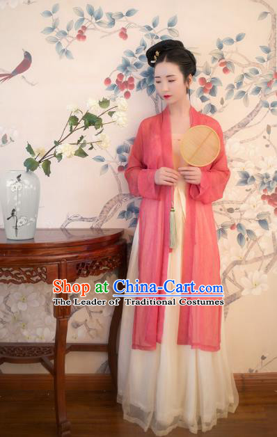 Traditional Chinese Ancient Costume Imperial Concubine Pink Beizi Complete Set, Asian China Song Dynasty Palace Lady Clothing for Women