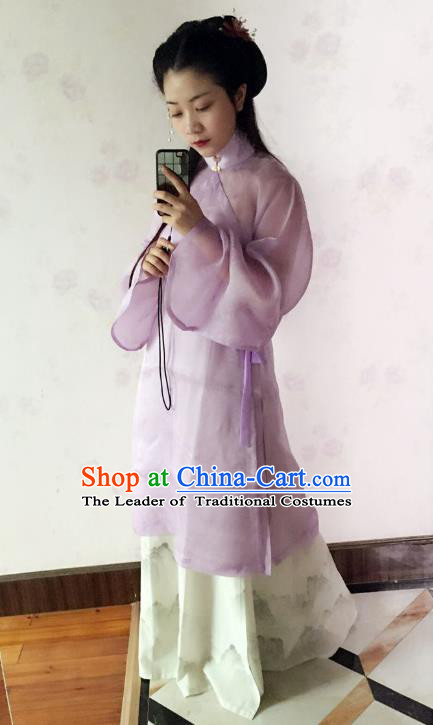 Traditional Chinese Ancient Costume Purple Blouse and Skirt, Asian China Ming Dynasty Nobility Lady Hanfu Clothing for Women
