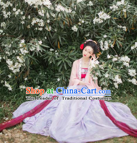 Traditional Chinese Ancient Costume Princess Embroidered Dress, Asian China Tang Dynasty Nobility Lady Hanfu Clothing for Women