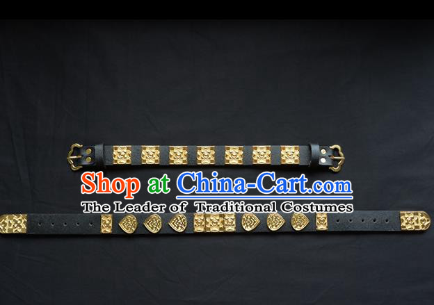 Traditional Ancient Chinese Hanfu Black Belts, Asian China Ming Dynasty Imperial Guards Leather Waistband for Men
