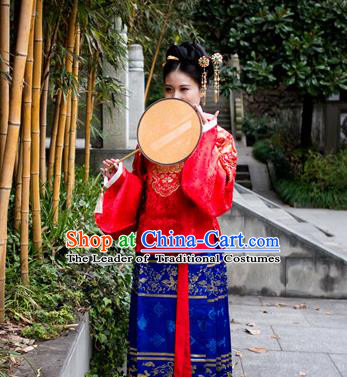 Traditional Chinese Ancient Costume Princess Embroidered Red Blouse and Skirt Complete Set, Asian China Ming Dynasty Hanfu Clothing for Women