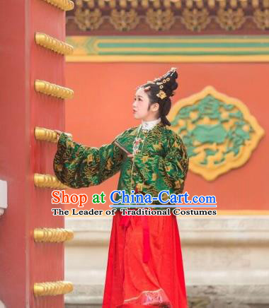Traditional Chinese Ancient Costume Princess Green Embroidered Blouse and Skirt, Asian China Ming Dynasty Palace Lady Hanfu Clothing for Women