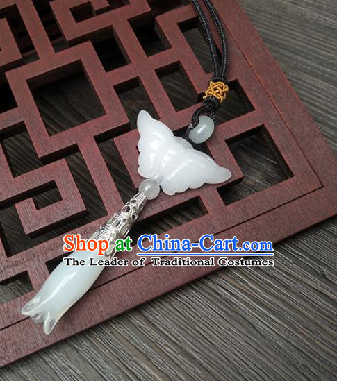 Traditional Handmade Chinese Ancient Classical Hanfu Wedding Accessories Tassel Jade Butterfly Pendant Brooch for Women