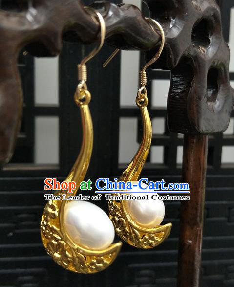 Traditional Handmade Chinese Ancient Classical Hanfu Wedding Accessories Eardrop Golden Tassel Earrings for Women
