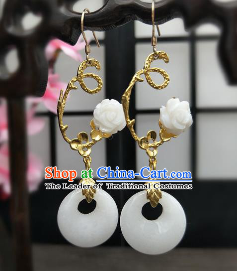 Traditional Handmade Chinese Ancient Classical Hanfu Wedding Accessories Eardrop White Flower Tassel Earrings for Women