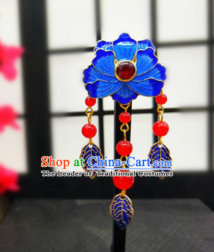 Traditional Handmade Chinese Ancient Classical Hanfu Breastpin Blueing Tassel Brooch for Women