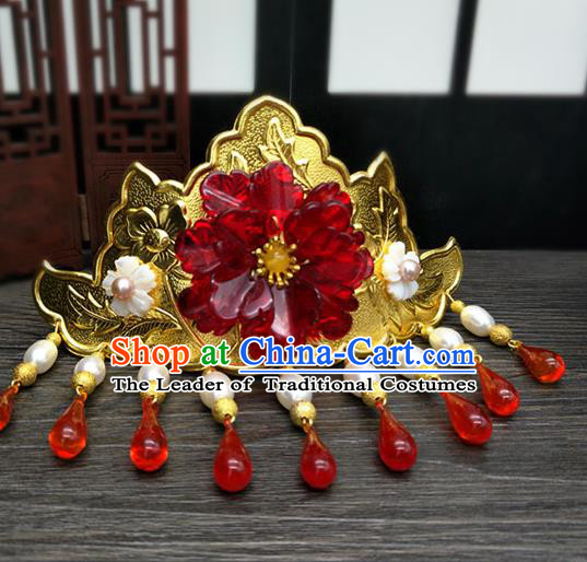 Traditional Handmade Chinese Ancient Classical Hair Accessories Bride Wedding Phoenix Coronet, Hair Jewellery, Hair Fascinators Hairpins for Women