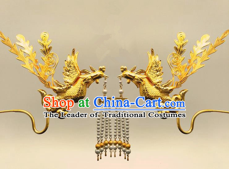 Traditional Handmade Chinese Ancient Classical Hair Accessories Bride Wedding Phoenix Step Shake, Hair Jewellery, Hair Fascinators Hairpins for Women