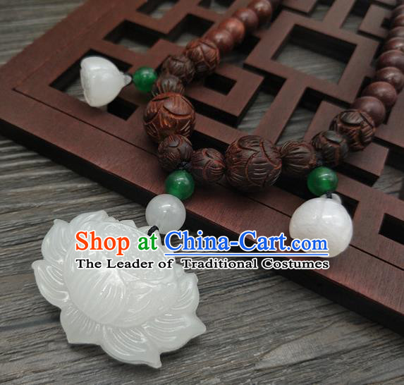 Traditional Handmade Chinese Ancient Classical Jade Lotus Necklace Accessories Queen Sandalwood Beads Necklet for Women