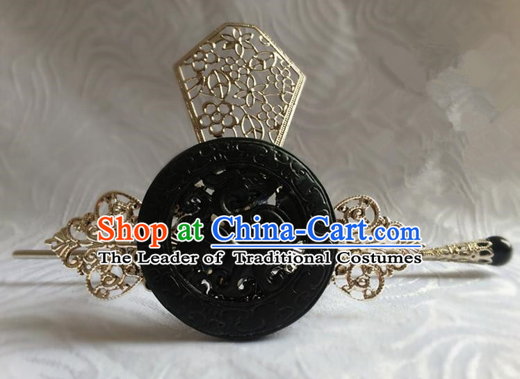 Traditional Handmade Chinese Ancient Classical Hair Accessories Qin Dynasty Emperor Dragons Jade Tuinga Hairdo Crown Hairpins for Men