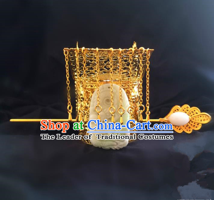 Traditional Handmade Chinese Ancient Classical Hair Accessories Qin Dynasty Emperor Tassel Hat Tuinga Hairdo Crown Hairpins for Men
