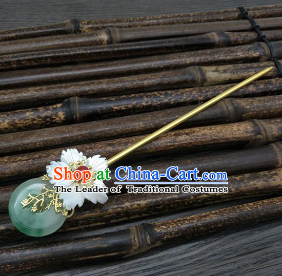Traditional Handmade Chinese Ancient Classical Hair Accessories Jade Hair Stick Hair Fascinators Hairpins for Women