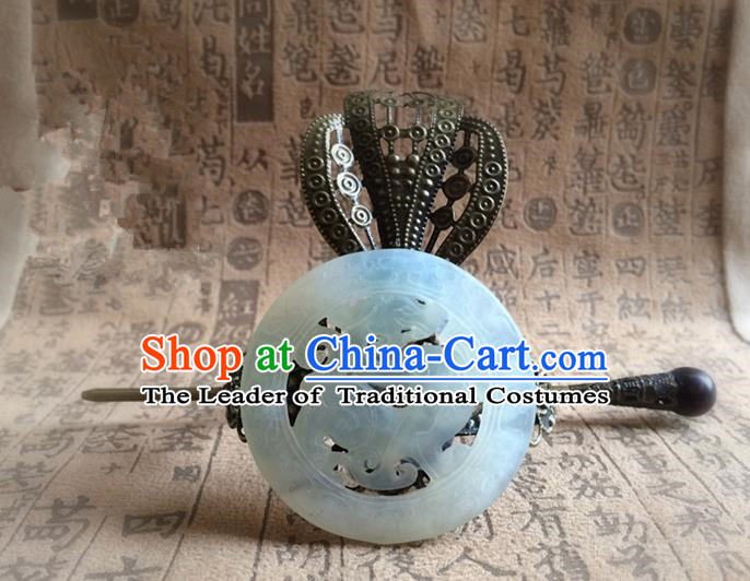 Traditional Handmade Chinese Ancient Classical Hair Accessories Han Dynasty Nobility Childe Bronze Tuinga Jade Hairdo Crown Hairpins for Men