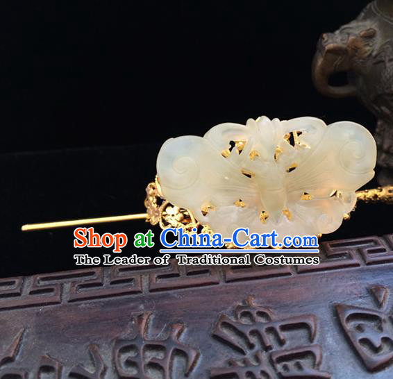 Traditional Handmade Chinese Ancient Classical Hair Accessories Han Dynasty Nobility Childe Tuinga Jade Hairdo Crown Golden Hairpins for Men