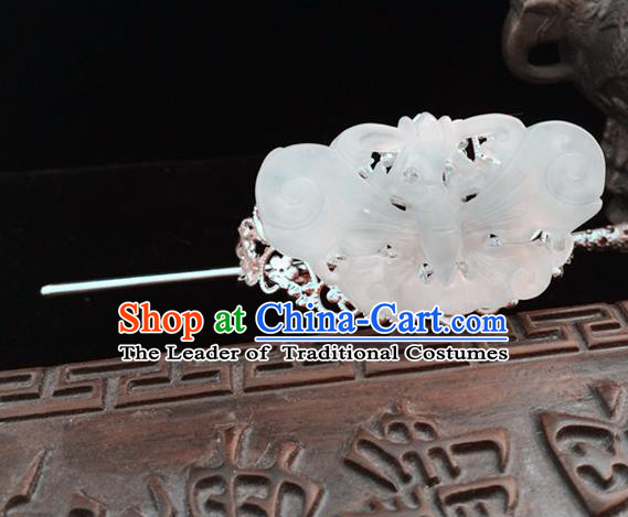 Traditional Handmade Chinese Ancient Classical Hair Accessories Han Dynasty Nobility Childe Tuinga Jade Hairdo Crown Hairpins for Men