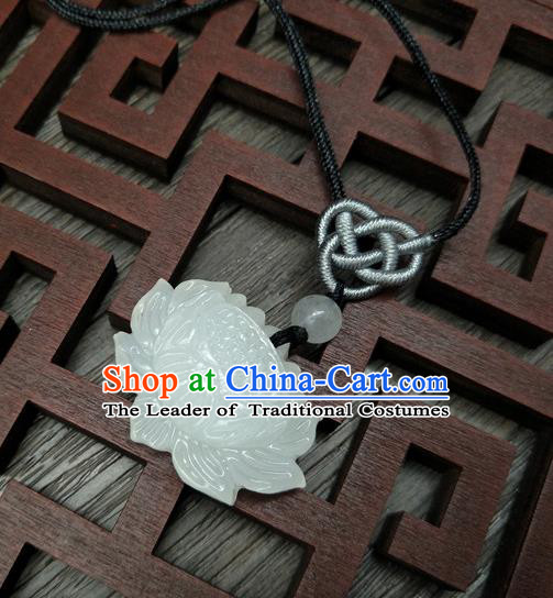 Traditional Handmade Chinese Ancient Classical Accessories Queen Jade Lotus Necklace for Women