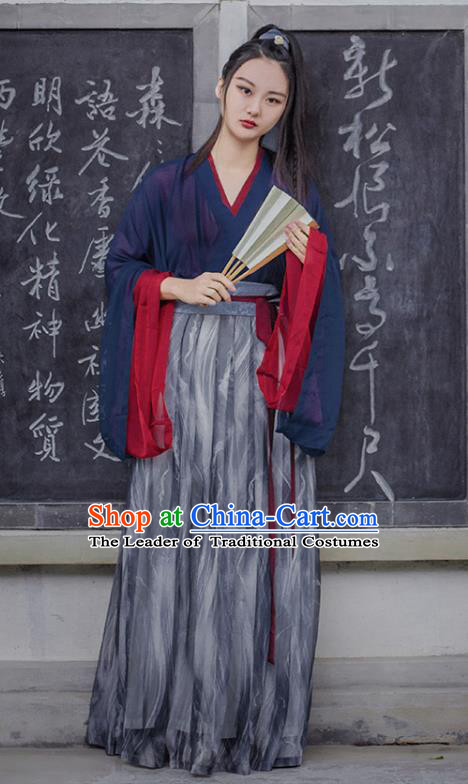 Traditional Chinese Ancient Costume Swordsman Slip Skirt, Asian China Jin Dynasty Palace Lady Hanfu Dress Clothing for Women