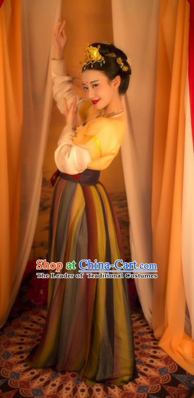 Traditional Chinese Tang Dynasty Imperial Concubine Costume Complete Set, Asian China Ancient Palace Lady Hanfu Slip Skirt Clothing for Women