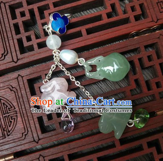 Traditional Handmade Chinese Ancient Classical Hanfu Accessories Jade Tassel Pendant Chalcedony Brooch for Women