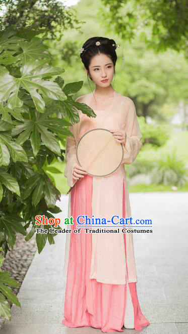 Traditional Chinese Song Dynasty Imperial Princess Costume, Asian China Ancient Palace Lady Hanfu Pink BeiZi Clothing for Women