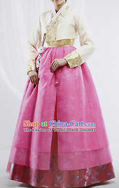 Traditional Korean Costumes Wedding Pink Full Dress, Bride Formal Attire Ceremonial Clothes, Korea Court Stage Dance Clothing for Women