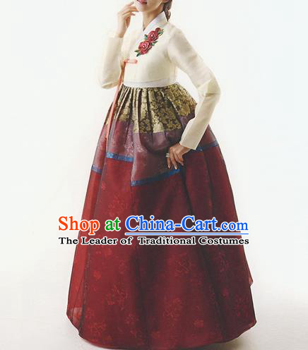 Traditional Korean Costumes Wedding Purple Full Dress, Palace Lady Formal Attire Ceremonial Clothes, Korea Court Bride Embroidered Clothing for Women