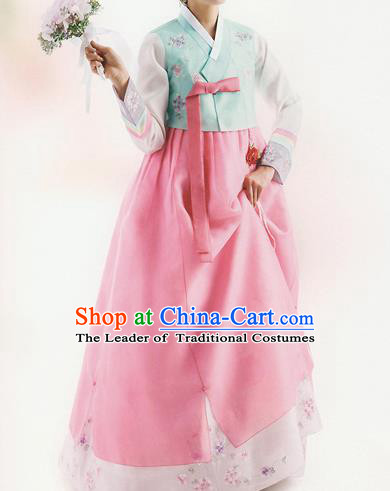Traditional Korean Costumes Bride Formal Attire Ceremonial Blue Blouse and Full Dress, Korea Hanbok Court Embroidered Clothing for Women