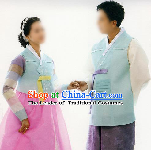 Traditional Korean Costumes Bride and Bridegroom Formal Attire Ceremonial Blue Clothes, Korea Hanbok Court Embroidered Clothing for Women for Men