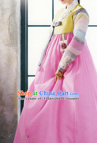 Traditional Korean Costumes Bride Formal Attire Ceremonial Yellow Blouse and Pink Dress, Korea Hanbok Court Embroidered Clothing for Women