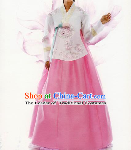 Traditional Korean Costumes Bride Formal Attire Ceremonial White Blouse and Pink Dress, Korea Hanbok Court Embroidered Clothing for Women