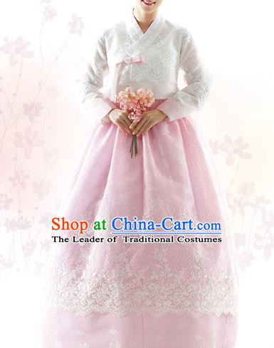 Traditional Korean Costumes Bride Formal Attire Ceremonial White Blouse and Pink Lace Dress, Korea Hanbok Court Embroidered Clothing for Women