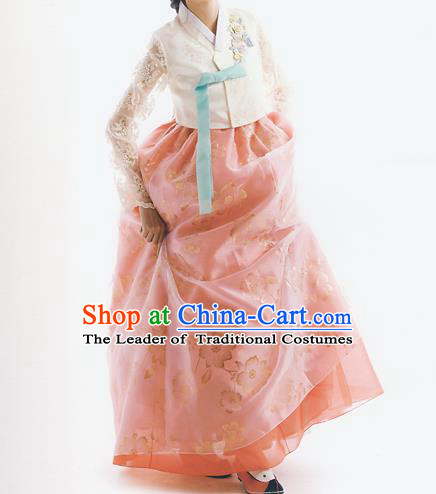 Traditional Korean Costumes Bride Formal Attire Ceremonial Orange Full Dress, Korea Court Embroidered Wedding Clothing for Women