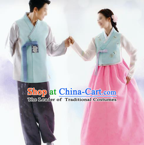 Traditional Korean Costumes Bride and Bridegroom Blue Cloth Complete Set, Korea Hanbok Court Embroidered Clothing for Women for Men