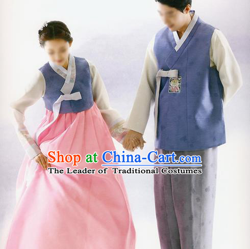 Traditional Korean Costumes Bride and Bridegroom Deep Blue Cloth Complete Set, Korea Hanbok Court Embroidered Clothing for Women for Men